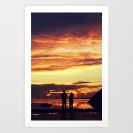 Couple enjoying sunset Art Print