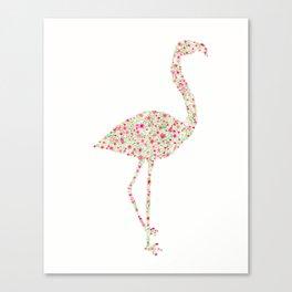 Flamingo Floral Watercolor Canvas Print