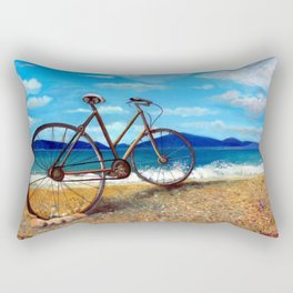 Old Bike at the Beach Rectangular Pillow