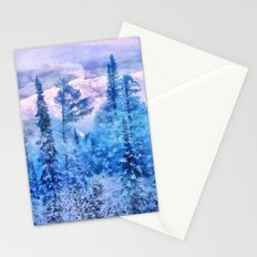Winter forest in mountains Stationery Cards