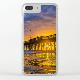 Low Angle Sunset at Newport Pier Clear iPhone Case