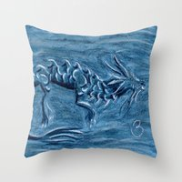 warcraft Throw Pillows featuring Wind Dragon by BevyArt