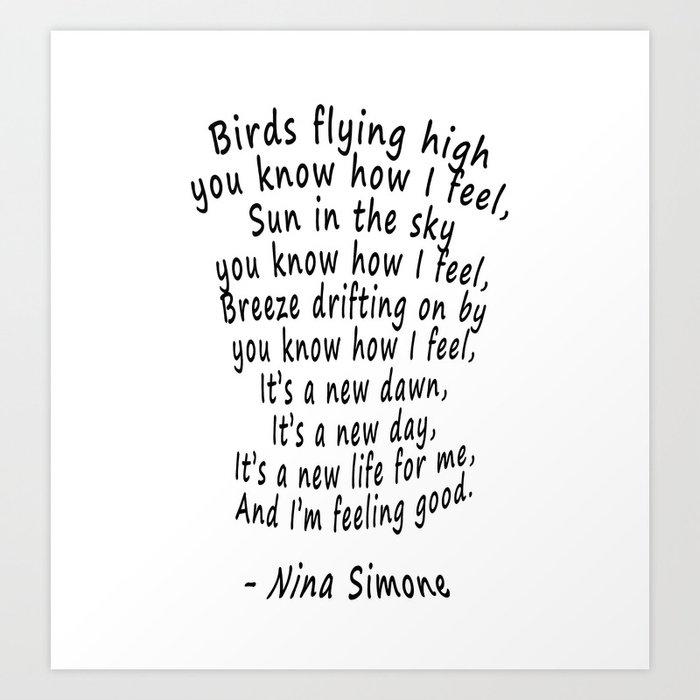 Modern Music Words: Feeling Good Song Lyrics Art Print By Minimaltype