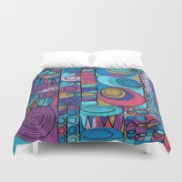 stained glass Duvet Covers featuring Stained Glass by Helene Michau