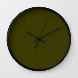 Dark olive textured striped. Wall Clock