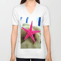 starfish V-neck T-shirts featuring STARFISH by habish