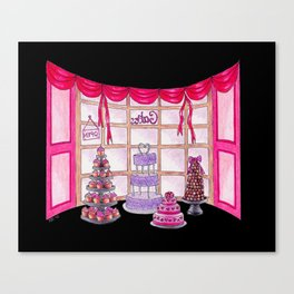 Inside The Cake Shop (on black) Canvas Print