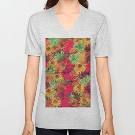 Seamless Pattern of Tropical Leaves Unisex V-Neck