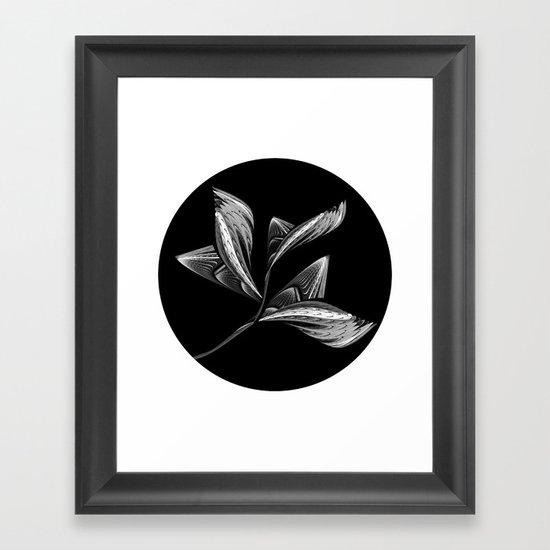 Embroidered Flower - black-and-white Framed Art Print