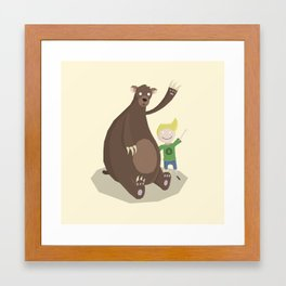 Boy and Bear Framed Art Print