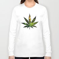 marijuana Long Sleeve T-shirts featuring Marijuana Leaf - Design 3 by Spooky Dooky