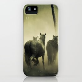 Herd of Horses Running Down a Dusty Path iPhone Case