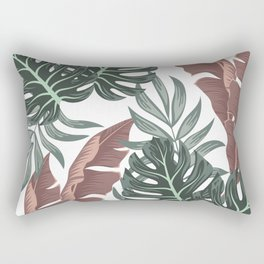 Summer seamless tropical pattern with bright leaves and plants on a light background. Seamless pattern with colorful leaves and plants. Jungle leaf seamless vector floral pattern background. Rectangular Pillow