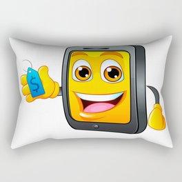 Yellow fun mobile phone cartoon with blue price tag dollar sign Rectangular Pillow