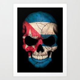 Dark Skull with Flag of Cuba Art Print