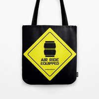 audi Tote Bags featuring AIR RIDE EQUIPPED by shedpress