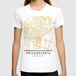 PHILADELPHIA PENNSYLVANIA CITY STREET MAP ART T-shirt