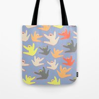 sloths Tote Bags featuring Print with sloths by Darish