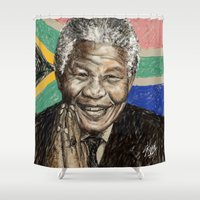 mandela Shower Curtains featuring MANDELA by Stan Kwong