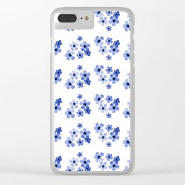 Blue Flowers Pattern Clear iPhone Case