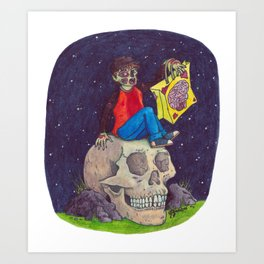 HALLOWEEN - Zombie-Boy with Skull  Art Print
