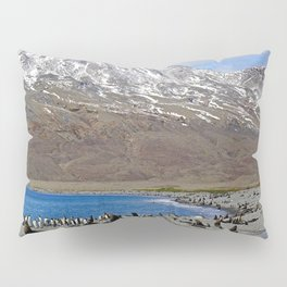 Fur Seals, King Penguins and Snowy Mountains Pillow Sham