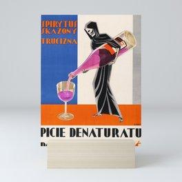 Vintage 1930 Drinking Absinthe Causes Death Alcoholic Beverage Advertising Poster Mini Art Print