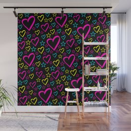 Cute whimsical bright fanciful funny blue, yellow and pink hearts and stars colorful pretty design. Wall Mural