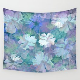 Painterly Midnight Floral Abstract Wall Tapestry