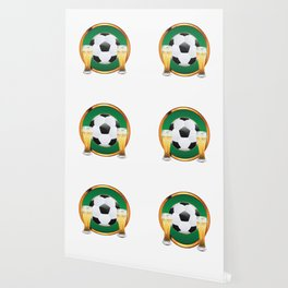 Two beer glasses and soccer ball in green circle Wallpaper
