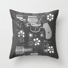 Colt Revolver Patent - Colt Firearm Art - Black Chalkboard Throw Pillow