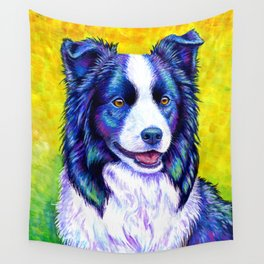 Colorful Border Collie Dog Wall Tapestry