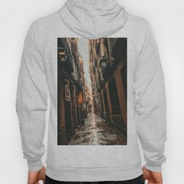 Barcelona Alley | Tilted Alleyway Streets in the City High Buildings Charming Moody Architecture  Hoody