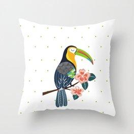 Toucan in green dots Throw Pillow
