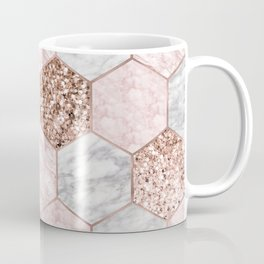 Rose gold dreaming - marble hexagons Coffee Mug