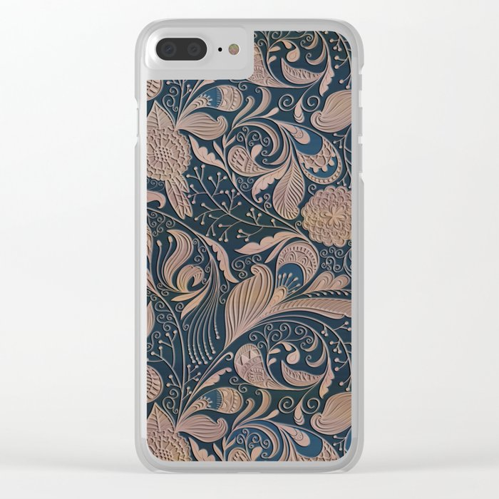Carved Floral Pattern Clear iPhone Case