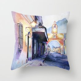 Painting of the Arch of Santa Catalina in city of Antigua, Guatemal Throw Pillow