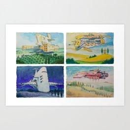 Battle Cruisers of Tuscany, quad 2 Art Print