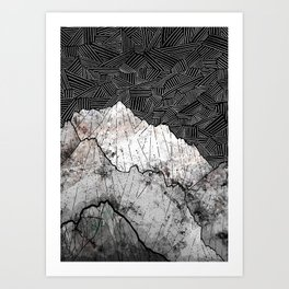 The rocky crosshatch mountains Art Print