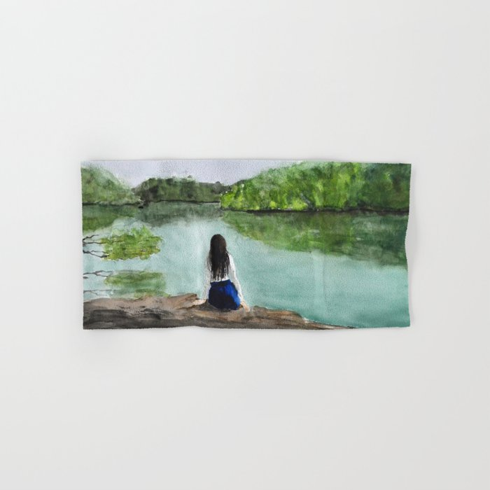 girl and nature Hand & Bath Towel