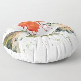 Hummingbird Watercolor Floor Pillow