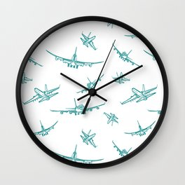 Teal Airplanes Wall Clock