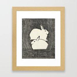 Vintage Snow Hare Block Print Framed Art Print