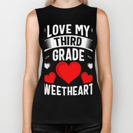 Love My Third Grade Sweethearts Biker Tank