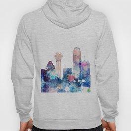 Blue Watercolor Dallas skyline design Hoody