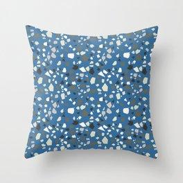 Terrazzo Blue Black Khaki White Throw Pillow