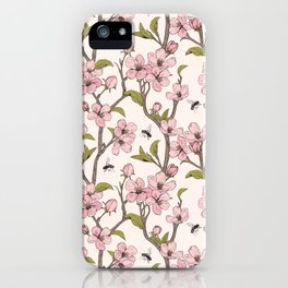 Pink flowers and bees pattern iPhone Case