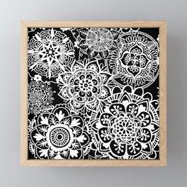 Black and White Mandala Pattern Framed Mini Art Print