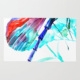 Dragonfly , Turquoise Bright Blue Red art Rug