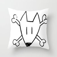 bull terrier Throw Pillows featuring Bull Terrier Skull by Chiaris